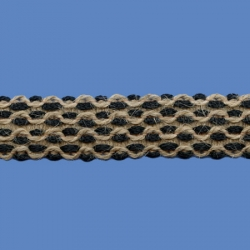 <strong>O71/ 2/88</strong> - Narrow Lace Zig Zag / Jute/ Black
