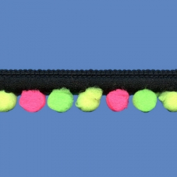 <strong>D38/ 2/31422F</strong> - Mini Pompon fluo/ Negro-rosa-amarillo-verde
