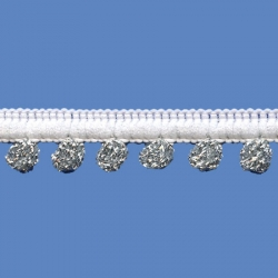 <strong>D36/ 1/82</strong> - Mini Pompom Loop Fringe/white-silver